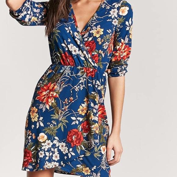 NWT Floral Mock Wrap Dress 3a6566c66